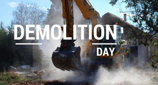 Demolition day and a koala bear