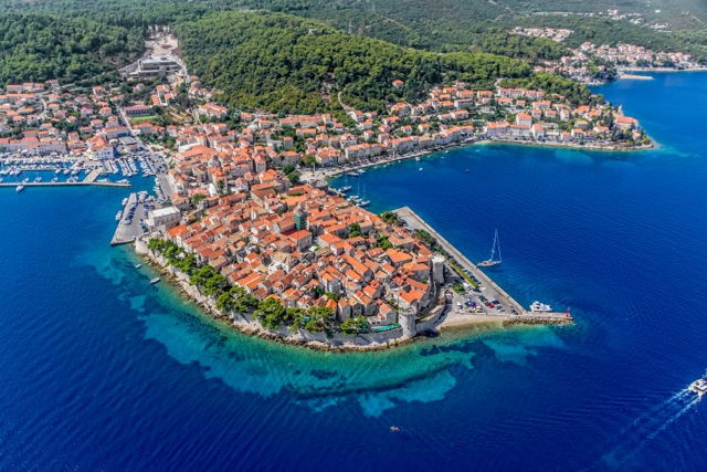 Aerial helicopter shoot of Korcula | Travel Croatia