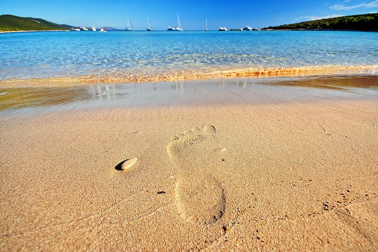 Foot in Sandy Beach Croatia | Travel Croatia