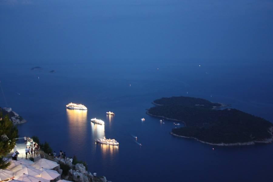 Like glowing caterpillars-Cruise ships nearby Lokrum Island
