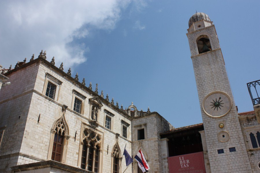 Left- Sponza palace. Right- Old clock tower.