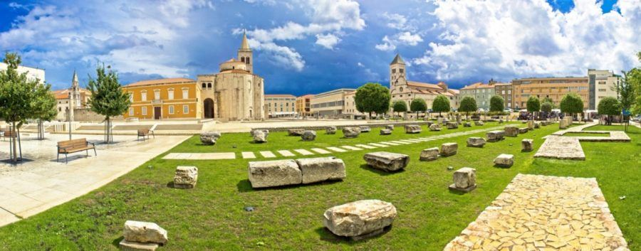 Zadar green square panoramic view, Dalmatia, Croatia