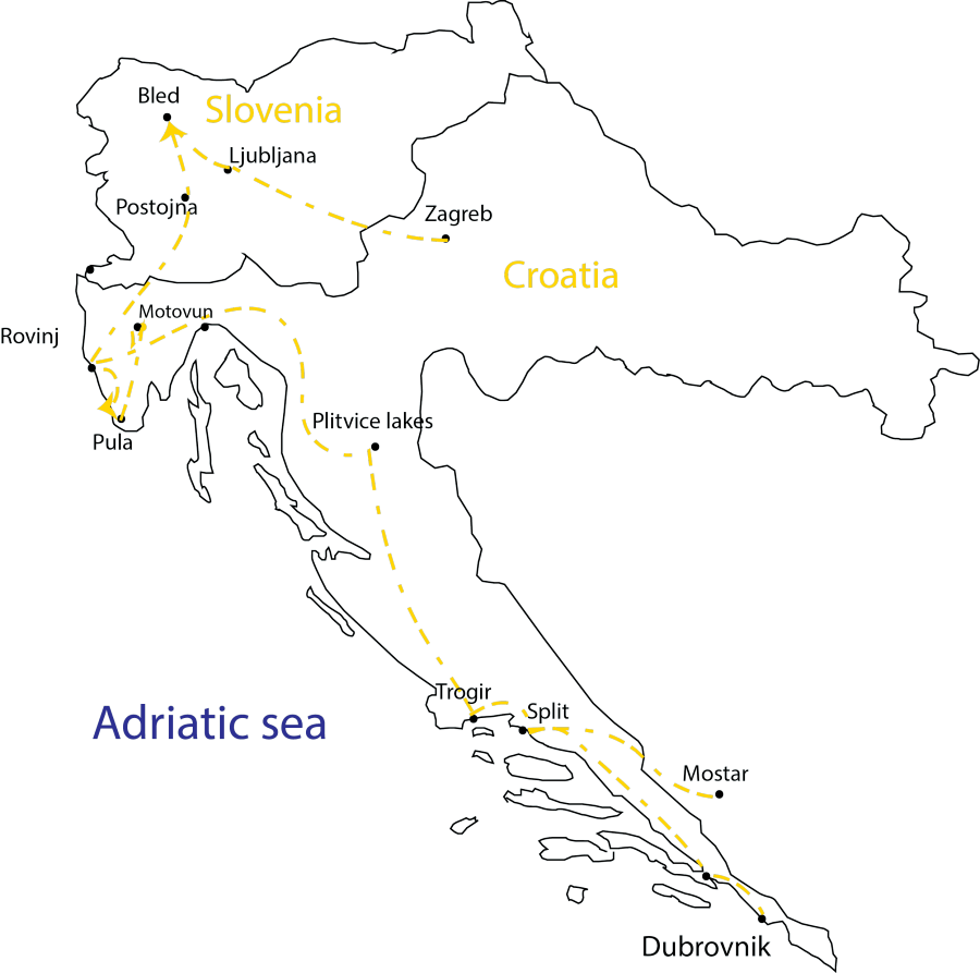 Travel Croatia Tour_Highlights Croatia & Slovenia Map