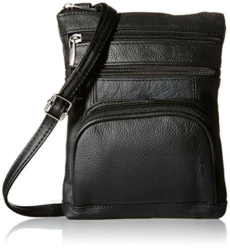 Roma Genuine Leather Multi-Pocket Crossbody Purse