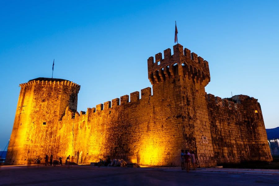 Medieval Castle of Kamerlengo in Trogir Illuminated in the Night, Croatia