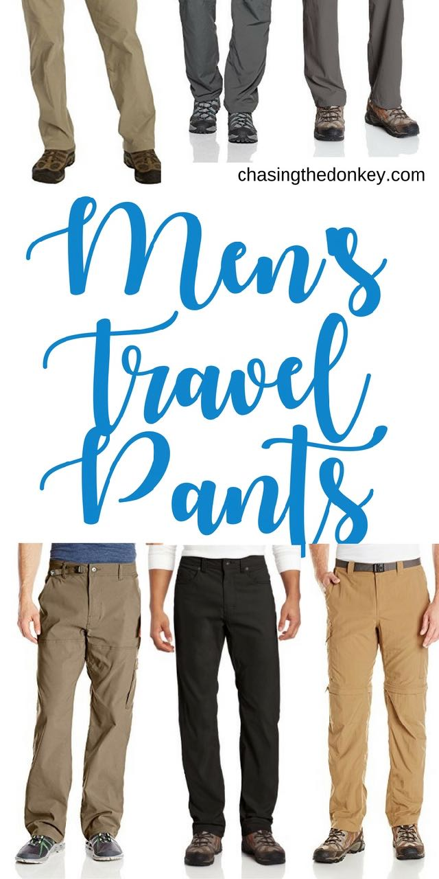Here are the best men's travel pants for 2018. All of these have a good combo of functionality and fashionable. Ready to take you from hiking and to dinner in a day. #TravelGear