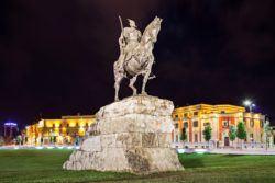 THINGS TO DO IN TIRANA - Skanderberg statue in the center, Tirana, Albania