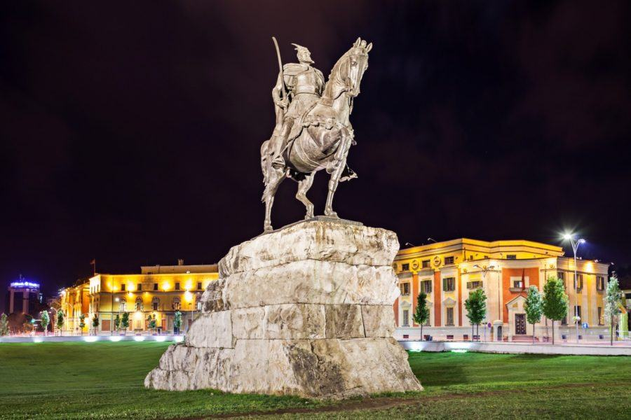 THINGS TO DO IN ALBANIA - Skanderberg statue in the center, Tirana, Albania