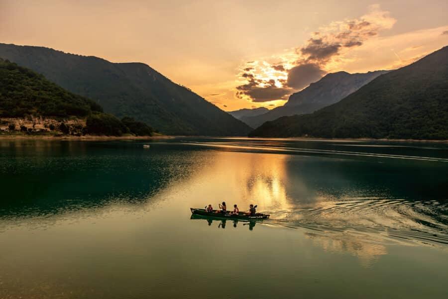 Durmitor National Park - Beautiful view of Piva lake at sundown, Montenegro