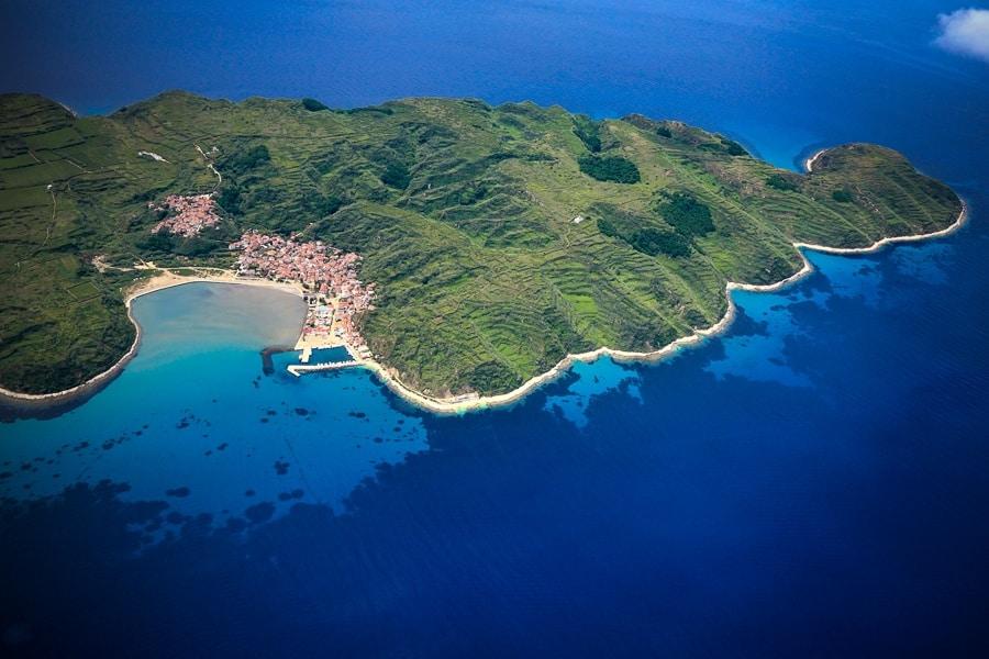 Susak Island, Croatia, aerial view