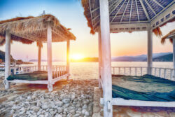 Best Beaches In Dubrovnik - Thatched canopies and awnings on the beach Copacabana Beach