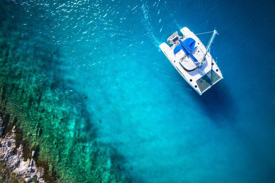 Sailing Croatia - Amazing view to Yacht sailing in open sea at windy day. Drone view - birds eye angle