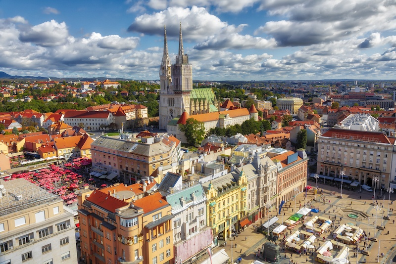 Things To Do In Zagreb - Ban Jelacic Square. Aerial view of the central square