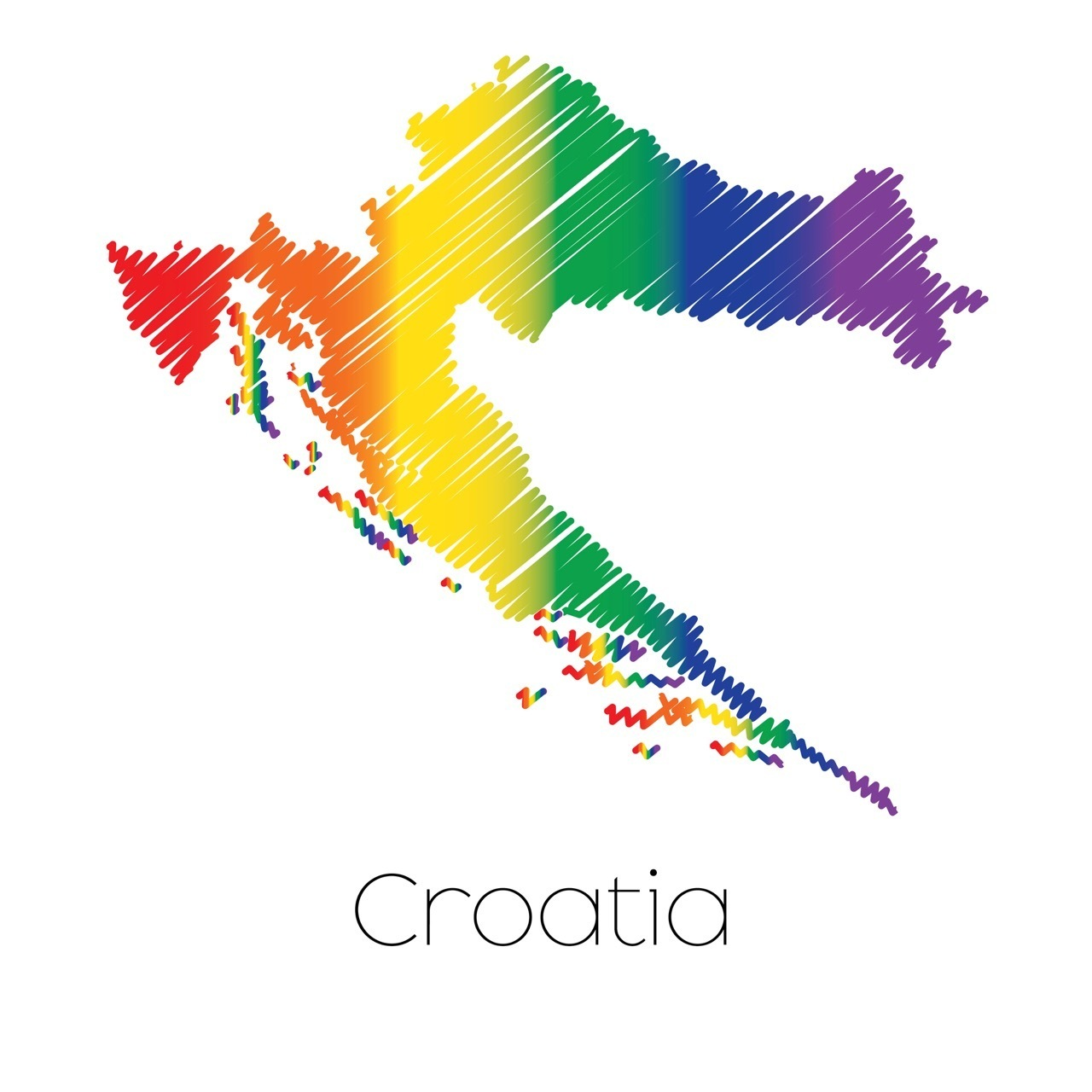 LGBT Coloured Scribbled Shape of the Country of Croatia
