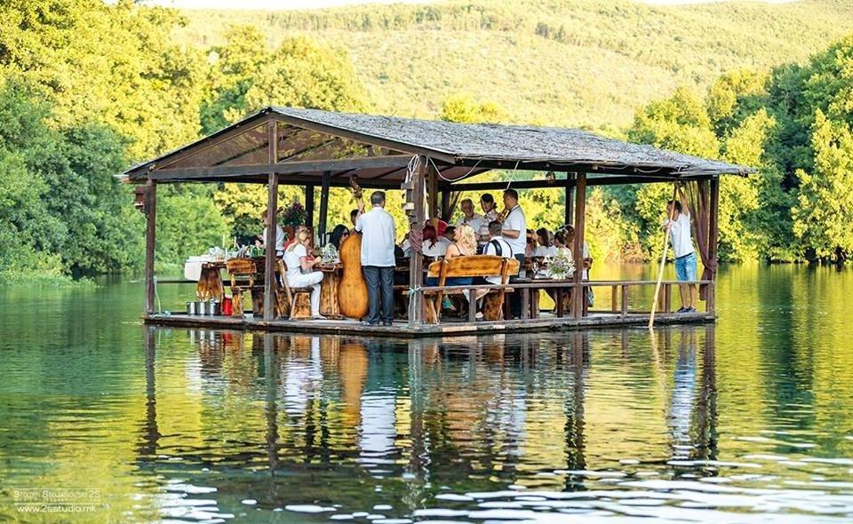 Macedonian traditional food in Macedonia_Macedonians Dining On A Raft