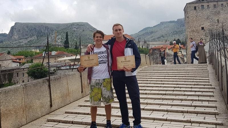 Stari Most bridge jump certificate