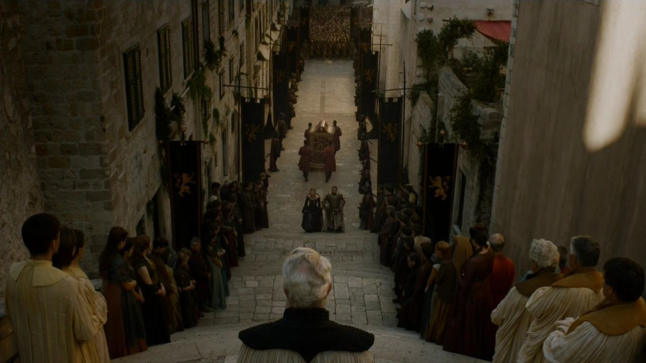 GoT Funeral of Tywin Lannister, Jesuit Staircase Dubrovnik Filming Location