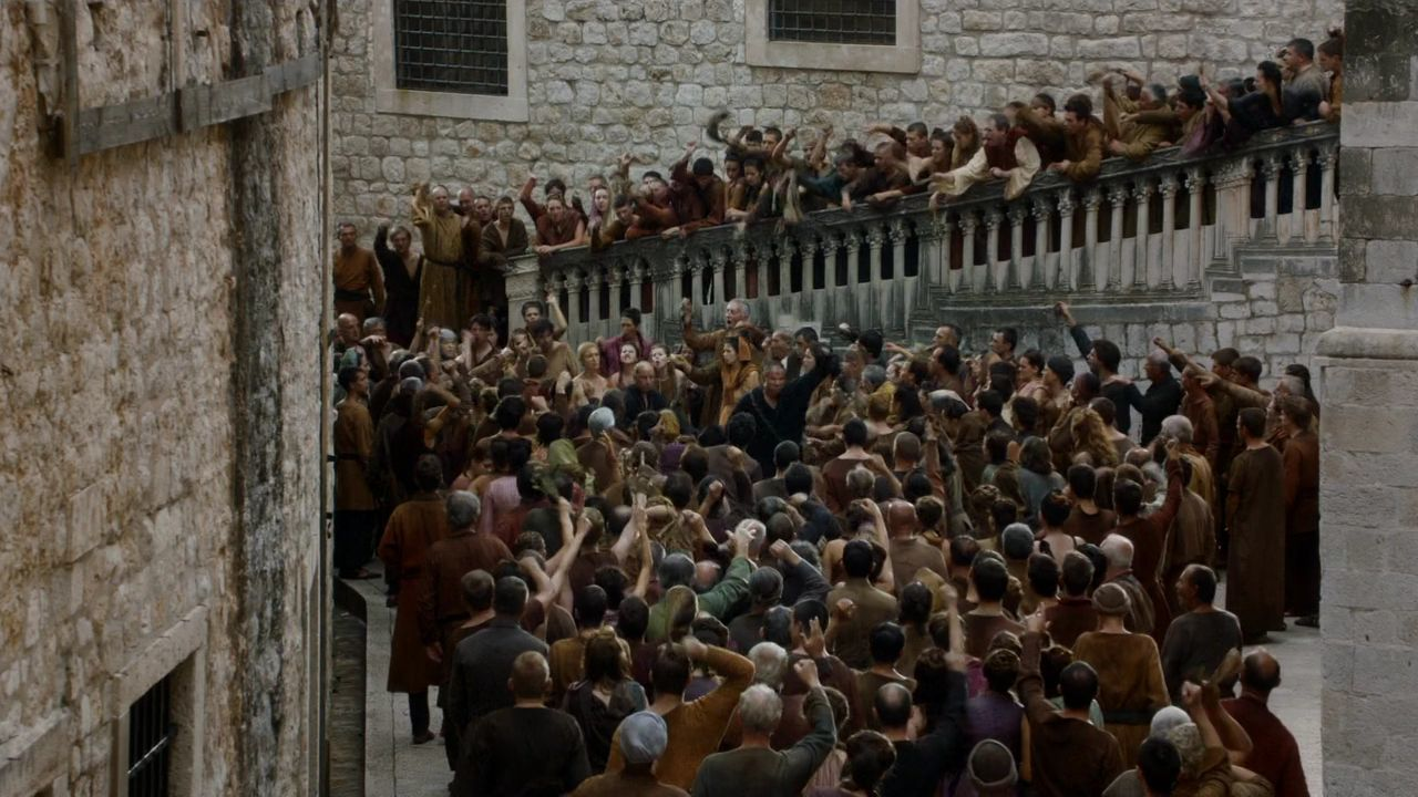 S5 E10 Cersei Walk of Shame in St. Dominic Street, Dubrovnik, Croatia