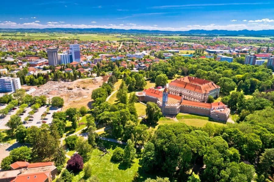 Cakovec old town Zrinski in green park aerial view, Medjimurje County
