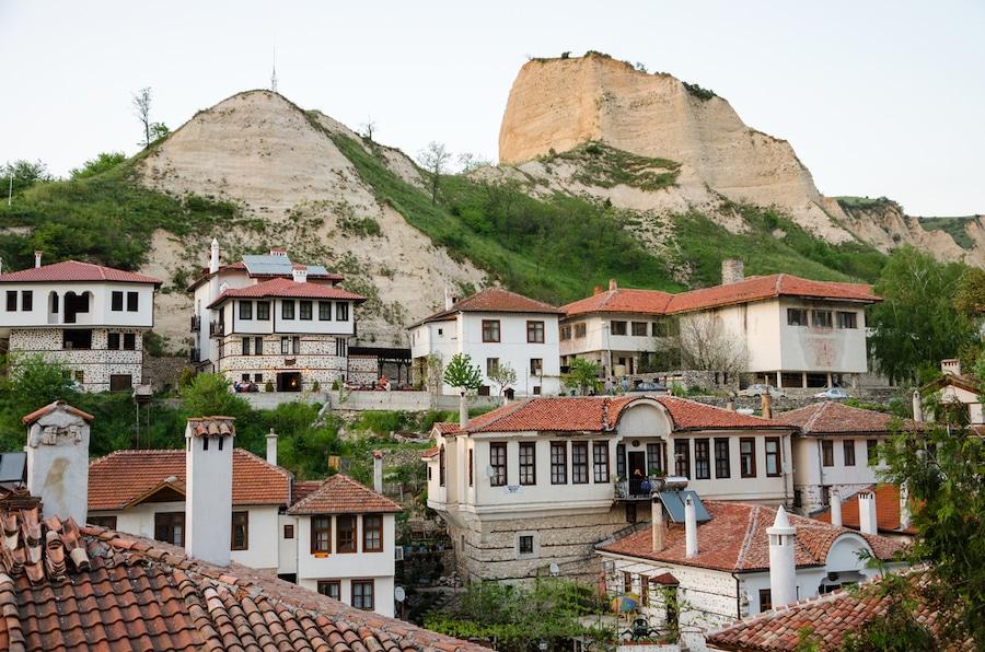 Small Towns Bulgaria - Aerial view of Melnik traditional architecture, Bulgaria