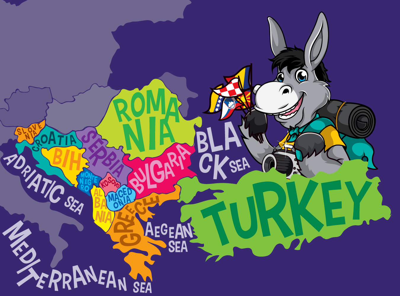 Balkans Map Of The Balkans_Purple