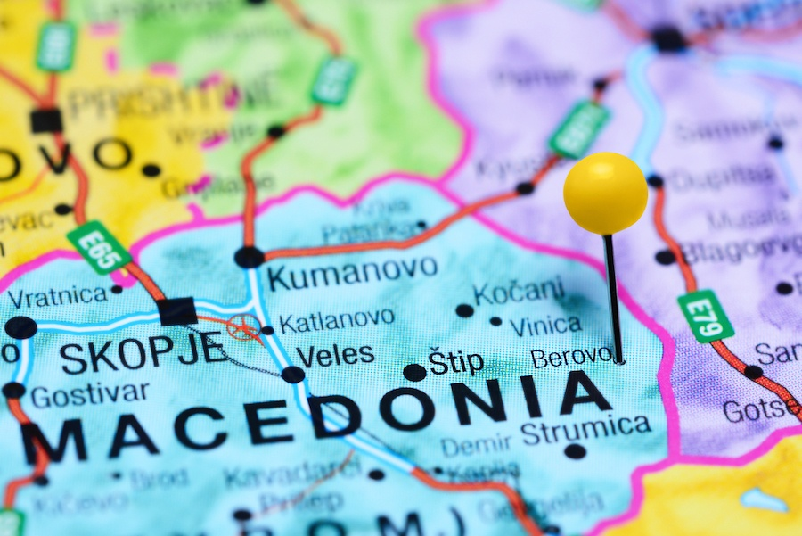 Places to visit in Macedonia - Berovo pinned on a map of Macedonia