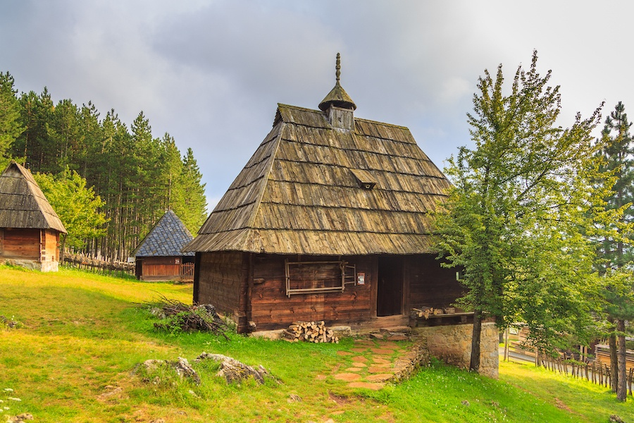 Places to visit in Serbia - Wooden buildings in the open-air museum Sirogojn