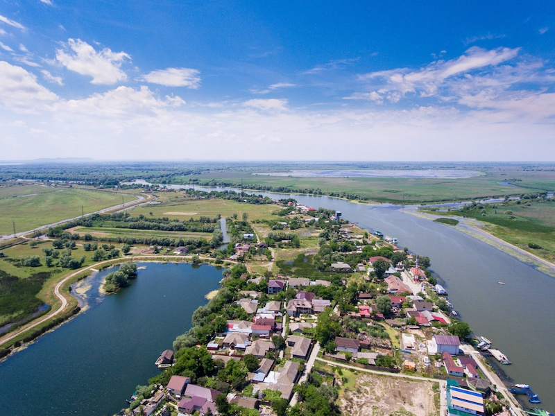 Things To Do In Tulcea - Mila 23 village Danube Delta Romania aerial view