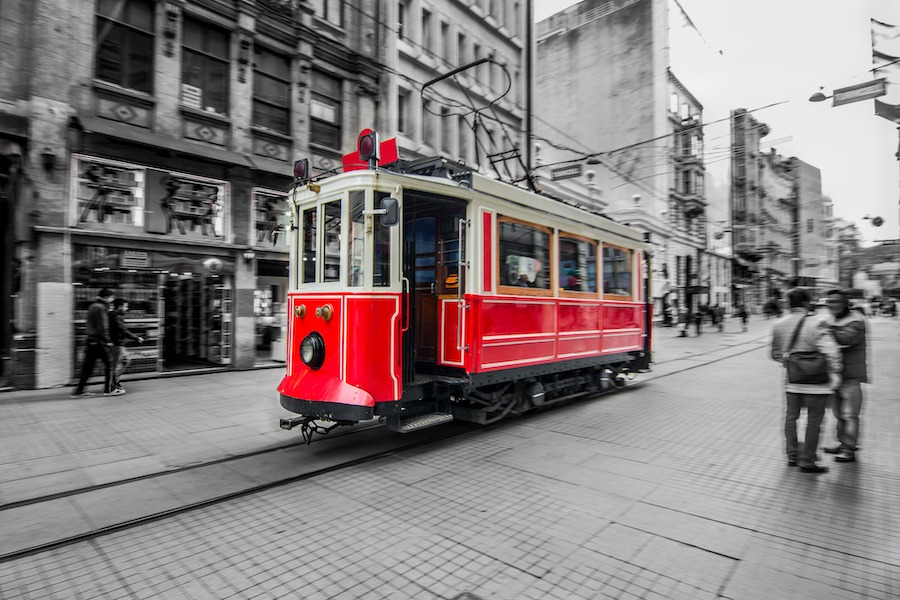 Best Things To Do In Istanbul - taksim square Red tram in Istiklal street