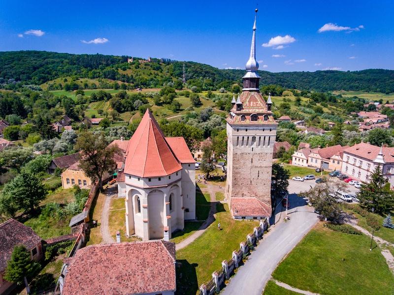 Saschiz Church and Clock Tower in the village Saschiz, Transylvania, Romania