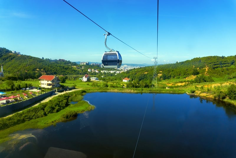 Albania in Winter - View of the Dajti Express cable car and lake