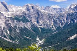 Albania in Winter - Peaks of Albanian Alps in Valbona Valley National Park