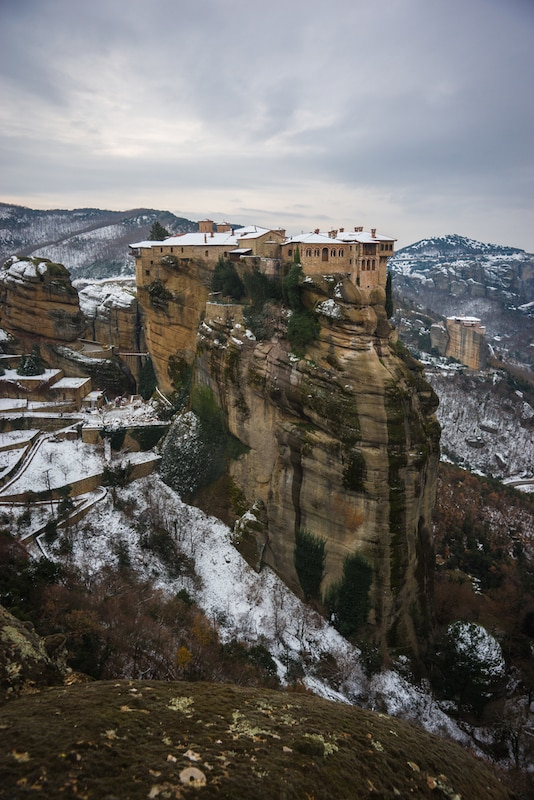Winter in Greece - View of the mountains and monasteries of Meteora