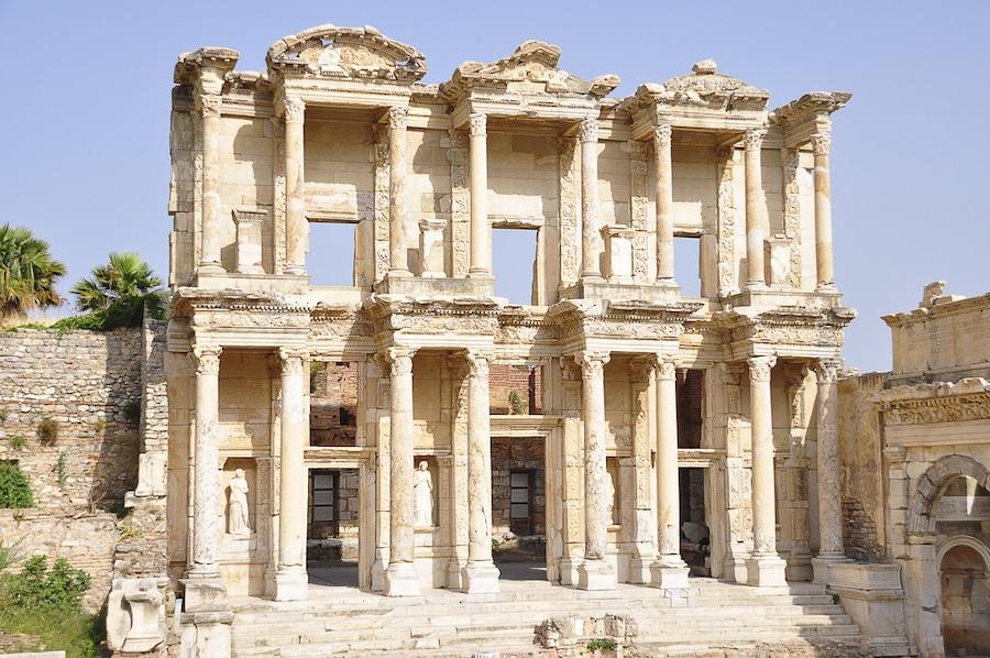 Visiting Ephesus Turkey. Library of Celsus