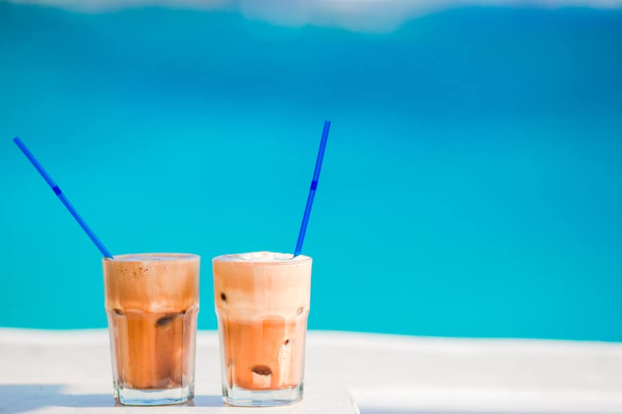 Greek Coffee - Frappe, ice coffee on the beac