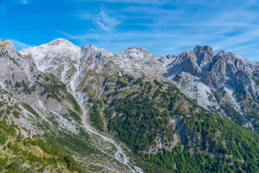 Hiking In The Balkans - Beautiful landscape of Accursed Mountains viewed from Valbona-Theth