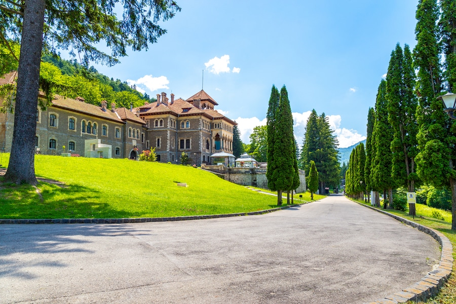 Romanian Castle - Cantacuzino castle entrance. Located in Busteni, Romania