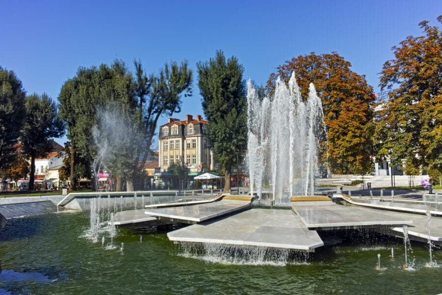 Cities In Bulgaria - Fountain and rainbow in the center of City of Pleven