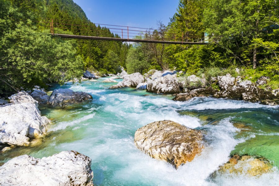 Triglav National Park - Rope bridge on the river Soca, Triglavski national park, Slovenia