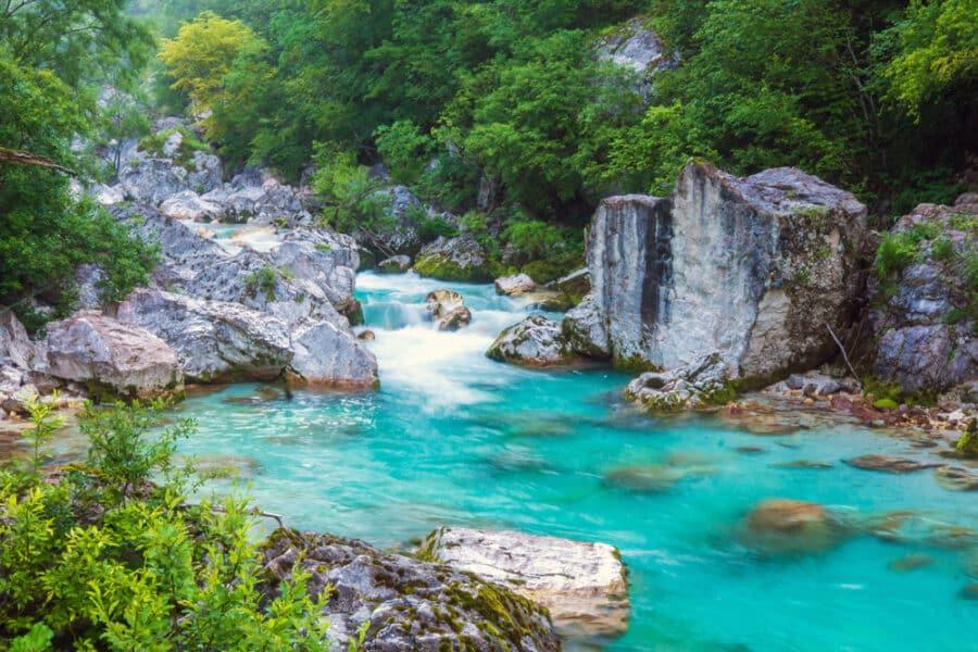 Triglav National Park - Beautiful turquoise river in the Triglav National Park in Slovenia