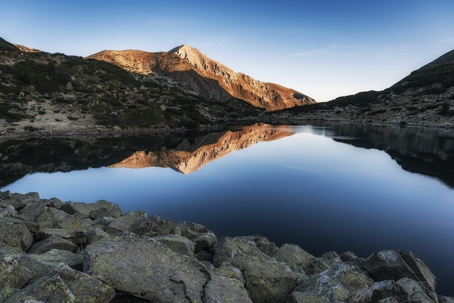 Balkan Itinerary - The Vihren peak reflected in the Banderitsa lake in the Pirin National Park