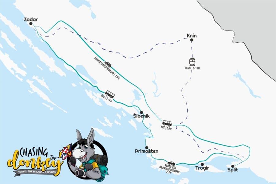 Map Zadar To Split - Split To Zadar Map