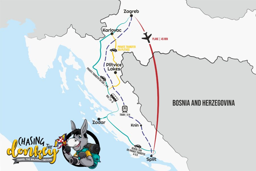 Map Zagreb To Split - Split To Zagreb Map