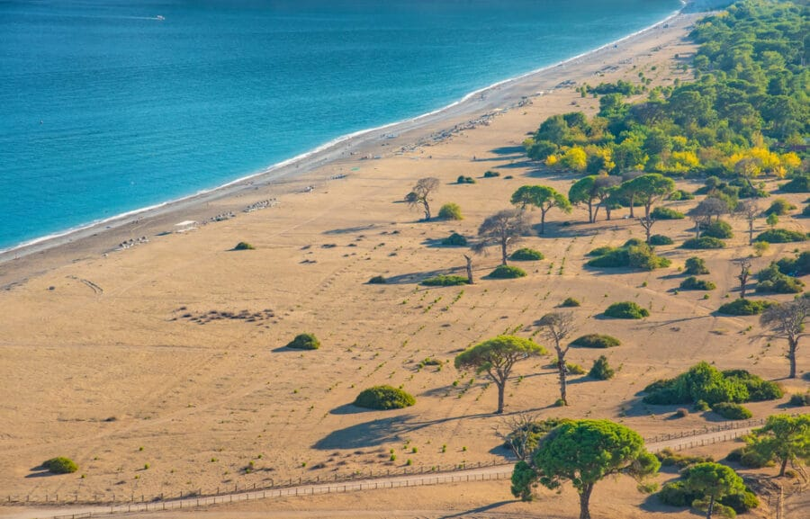 Sandy Beaches In Turkey - Aerial view of Cirali Beach from ancient Olympos ruins