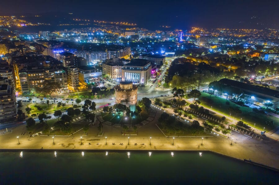 Things to do in Thessaloniki Greece - White Tower square the night, in Thessaloniki, Greece