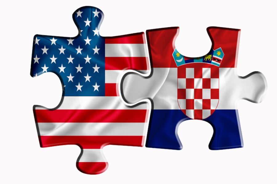 How Americans Can Live In Croatia - Croatia flag and United States of America flag