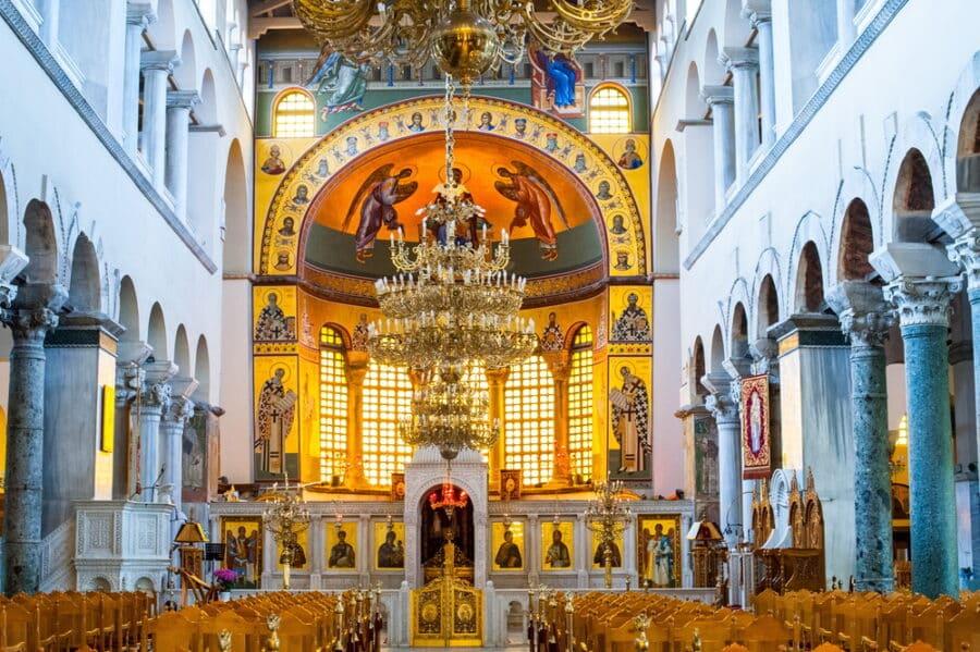 Things to do in Thessaloniki Greece - Greek orthodox church interior, Saint Dimitrios of Thessaloniki