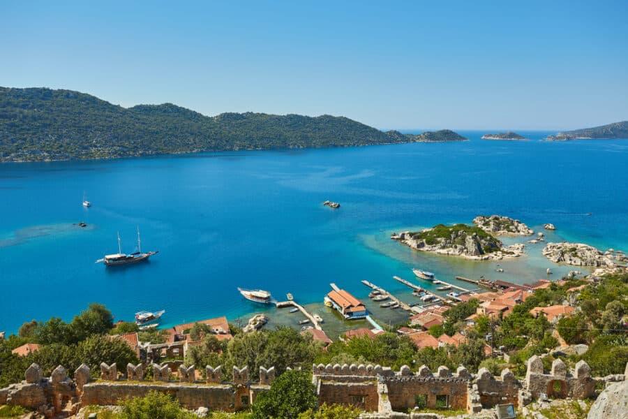 Best Islands In Turkey - Kekova Island and Kalekoy from Simena Castle, Kas Antalya Turkey