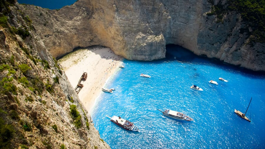 The best sandy beach in Greece - Navagio Beach - Shipwreck Beach, Zakynthos Island, Greece