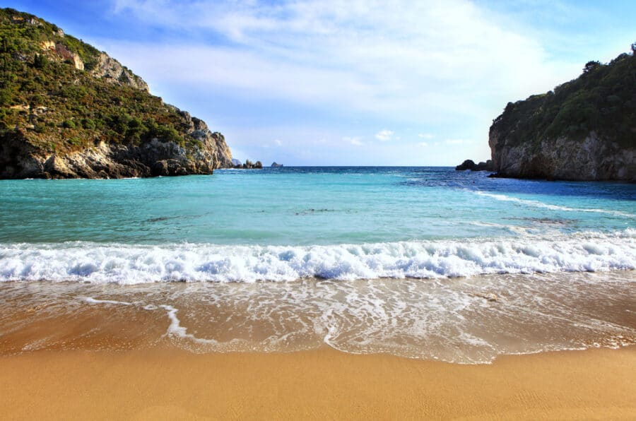 Sandy beaches of Greece - Paleokastritsa beach, Corfu Island